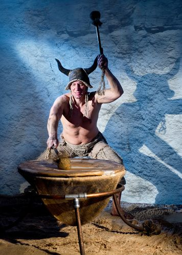 Mad shaman with ritual drum