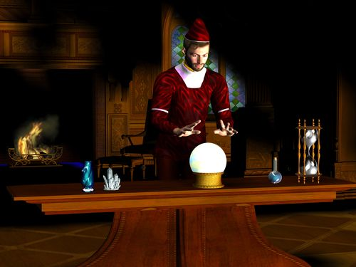 A wizard uses a crystal ball to find out what the future holds.